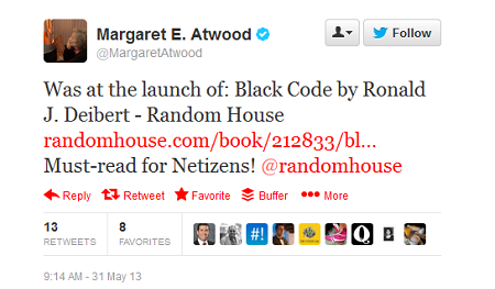 Margaret Atwood tweeted that the book is a must-read for netizens